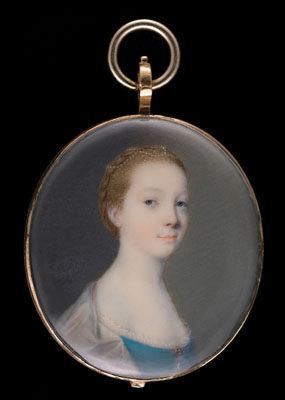 A portrait miniature of a young Girl, wearing blue dress held with a brooch clasp and white shawl, her upswept hair plaited, John Smart
