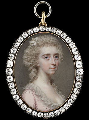 Portrait miniature of a Lady of the Darrell family, possibly Clarissa Darrell (d.1812), wearing a pink dress with high frilled white collar, her powdered hair worn up with falling ringlets and decorated with a white ribbon, 1785, John Smart