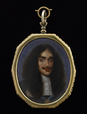 Portrait miniature of Charles II full face in black doublet and lace cravat wearing the sash and Order of the Garter, Attributed to Franciszek Smiadecki