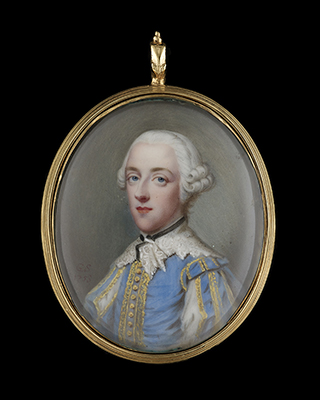 A portrait enamel of George Beauclerk, 3rd Duke of St. Albans (1730-1786), wearing blue jacket with gold lace decoration, the sleeves slashed, lace 'Van Dyck' collar and powdered hair, Gervase Spencer