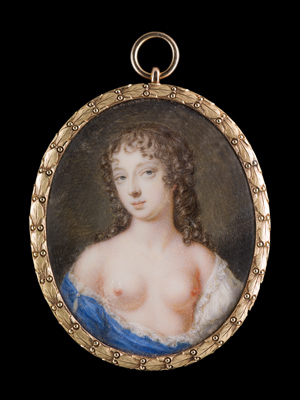 Portrait miniature of Nell (Eleanor) Gwyn (1650-1687), wearing blue and white loose chemise, her breasts exposed, Gervase Spencer