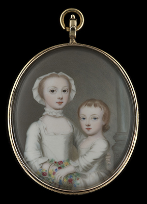 Portrait enamel of a Young Girl with her younger sibling, wearing white dresses, standing in front of a column, holding a basket of flowers, 1752, Gervase Spencer