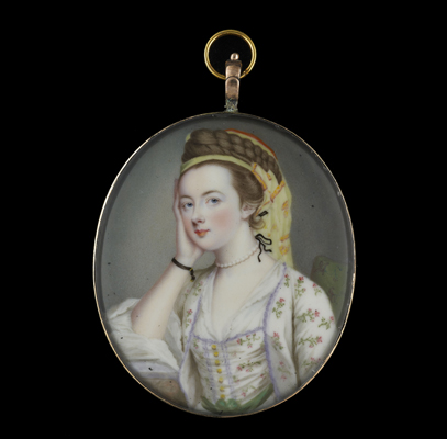 A portrait miniature enamel of Susannah Beckford (nee Love) dressed à la Turque in a white costume sprigged with pink flowers and green leaves..., Gervase Spencer