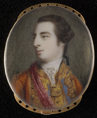 Portrait miniature of Charles Fitzroy, 1st Lord Southampton (1737-97), semi-profile to the left, wearing scarlet coat with blue and gold facings and brass gorget and a crimson sash, Gervase Spencer