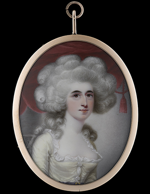 Portrait enamel of the actress Sarah Siddons (née Kemble) (1755-1831), wearing pale yellow dress with blue belt and white chemise, her hair powdered, red curtain background, Henry Spicer