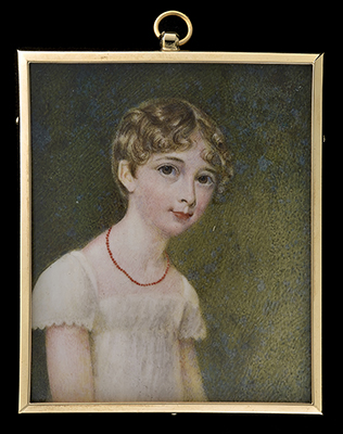 Portrait miniature of the Hon. Henrietta Mary Crewe (1808-1879) dressed in white, turned slightly to right, wearing a coral necklace, Anthony Stewart