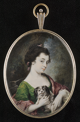 Portrait miniature of Catherine Maria (Kitty) Fisher (1741? - 1767) holding a small dog, wearing a green dress, with a pink drape and ribbons in her hair, Luke Sullivan