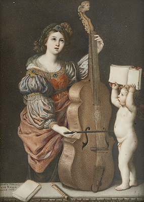 Portrait minature of Saint Cecilia playing a viol with a cherub holding music, 1757, Orsola Urbani