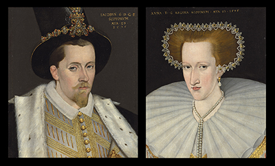 A pair of portraits of King James VI of Scotland and Anne of Denmark, 1595, Adrian Vanson