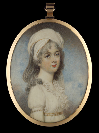 Portrait miniature of a young Lady, wearing white dress, her hair in white bandeau, William Wood