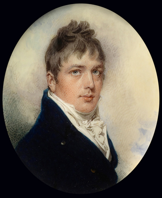 Portrait miniature of Captain Jonathan Birch, wearing blue coat and white waistcoat, William Wood