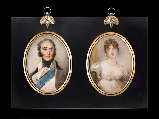 A pair of Portrait Miniatures of John James Hamilton, 1st Marquess of Abercorn (1756-1818) and Anne, Marchioness of Abercorn (d.1827), John Inigo Wright