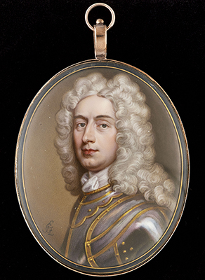 Portrait enamel of a Gentleman, wearing gilded armour and long powdered curling wig, c.1715, Christian Friedrich Zincke