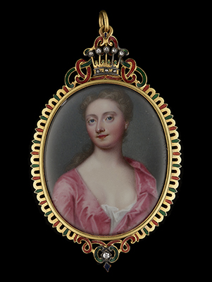 Portrait enamel of Frances Lumley-Saunderson, Countess of Scarbrough (née Lady Frances Hamilton) (c.1700-1772), wearing pink silk gown open to reveal white chemise, 1723, Christian Friedrich Zincke