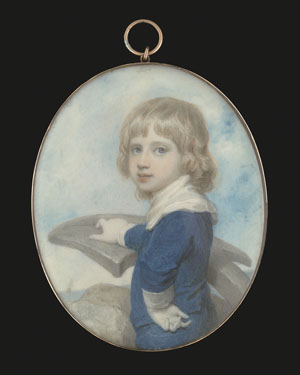 Portrait miniature of a young boy, thought to be Sir George Francis Seymour (1787-1870), leaning on an anchor, a ship in the distance, Richard Cosway
