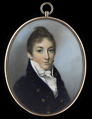 Portrait miniature of a young Boy, wearing dark blue coat, George Engleheart
