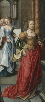 Female Saint in a porticoed interior with female attendants behind, Flemish School