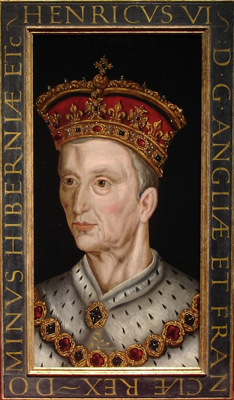 Portrait of King Henry VI (1421 - 1471) from a set of eight medieval Kings, Renold Elstrack, or after