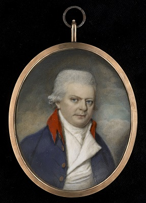 Portrait miniature of a Gentleman, wearing blue coat with red collar, white waistcoat and stock, George Place