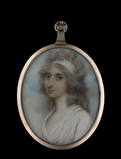 Portrait miniature of a Lady, wearing white dress, a white bandeau in her powdered hair, Andrew Plimer