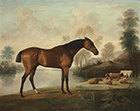 Mr Ogilvie's Bay Racehorse by George Stubbs R.A. (1724 – 1806) the background attributed to George Barret (1730-1784)
