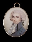 Portrait miniature of a Gentleman wearing a pale coat, white waistcoat, frilled by late 18th century English School
