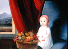 Young child with a basket of fruit by Anglo Oriental